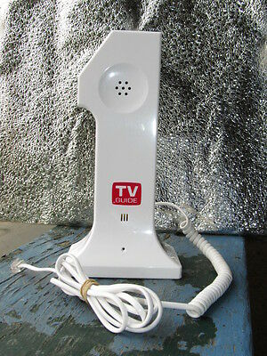 "TV GUIDE Magazine - Novelty White Push Button PHONE - Shape ""#1""   8""   WORKING"