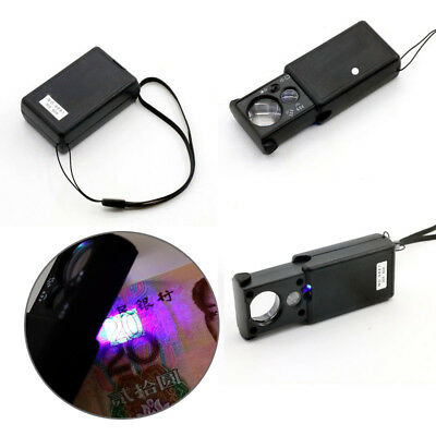Lens 30x 60x Jeweller Jewelry Glass UV LED Light Magnifier Loop Loupe + Battery