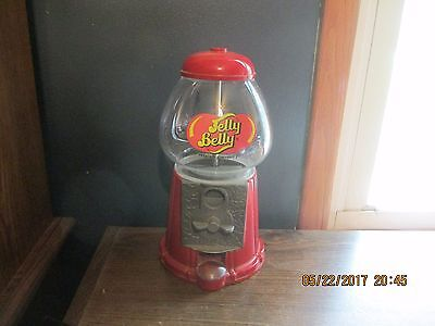 "11"" JELLY BELLY Jelly Bean Dispenser  Coin Bank - Glass / Metal EUC NICE"