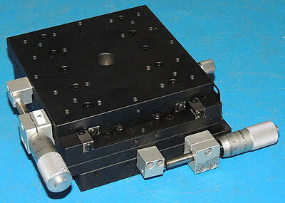 Chuo Seiki X-Y Linear Stage 125mm X 125mm Table 15mm Travel Micrometers LD-141-S