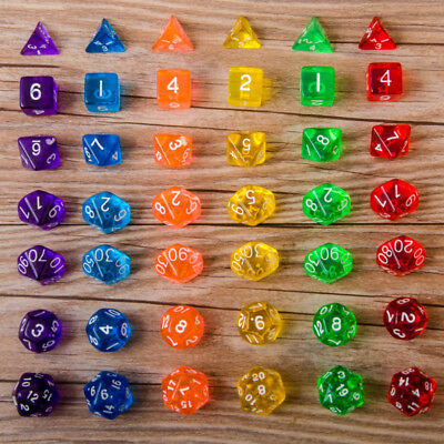 7 Dice Set TRPG For DND Multi Sided D4-D20 Acrylic Transparent 6 Colors