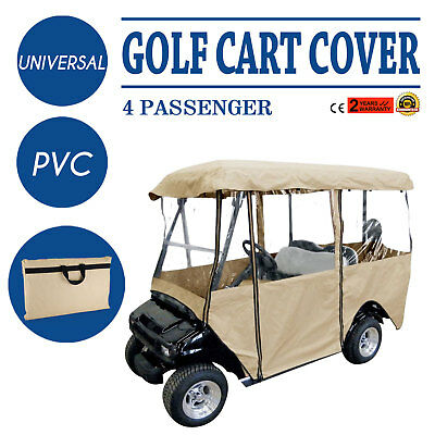 4 Passenger Golf Cart Cover Driving Enclosure Best Visibility Zipper Secure Hook