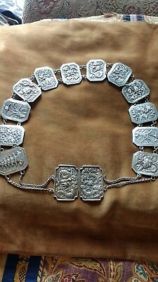 Chinese Silver Belt. Dragon Clasp. Antique.