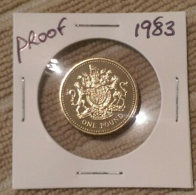 1983 PROOF £1 coin, Great Britain, Royal Mint, One Pound. The 1st Pound Coin.
