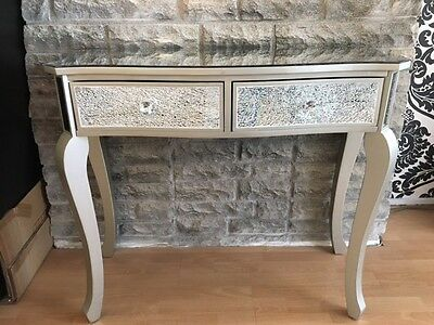 Champagne Silver Crackle Glass 2 Drawer Dressing Table with Mirrored Top