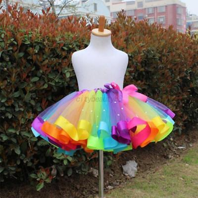 US Kids Baby Tutu Skirt Colorful Rainbow Tulle Dance Ballet Dress Costume 2-13Y