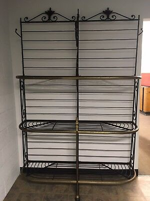 Antique French Iron And Brass Baker's Rack