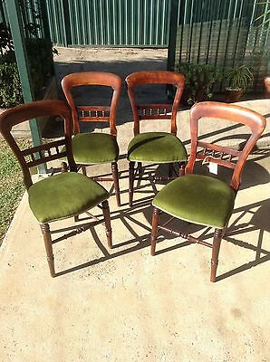 Antique balloon back chairs reupholstered x 4