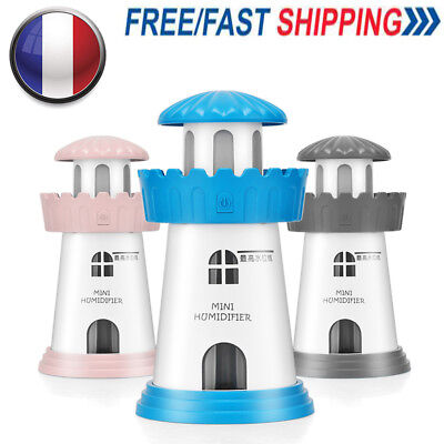Warm White LED Ligh mini Lighthouse Humidifier Atmosphere Air Purifier Nebulizer