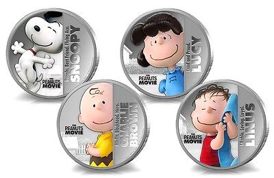 Full set of Peanuts Movie Snoopy Dog 4 x 1 oz coin finished in 18k White Gold