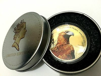 1 oz Lmt Edition Wedge-tailed Eagle gold coin finished in 24k in display tin Box