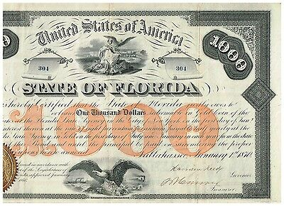 State of Florida, 1870, 1000$ Bond, uncancelled/ coupons, TOP