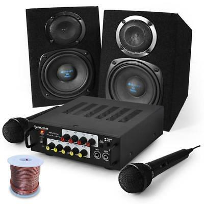 "Beginner Party Pa System 'eq Sing' Dj Karaoke Set 5"" Speakers Amplifier Mics"