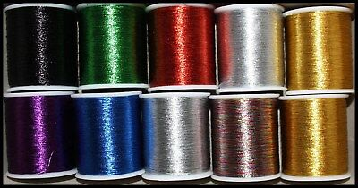 METALLIC SEWING / EMBROIDERY THREAD 180m SPOOLS RED BLUE GOLD SILVER GREEN BLACK
