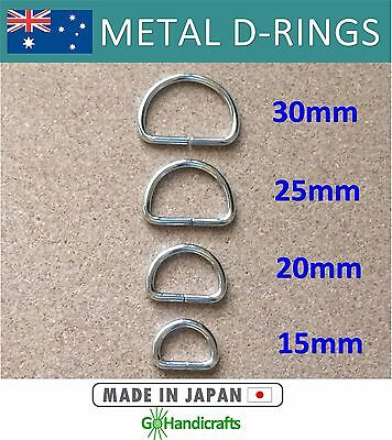 10/pk METAL NICKEL DEE D RINGS 15mm 20mm 25mm 30mm NON WELDED 3mm THICK JAPAN