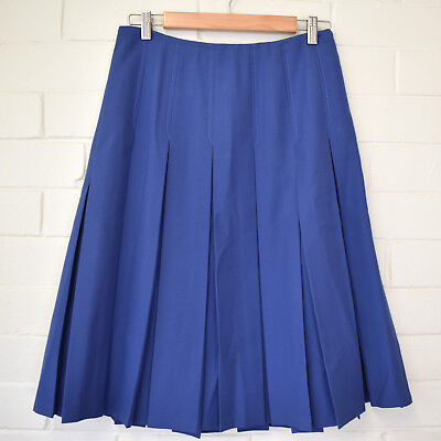 Fletcher Jones Cornflower Blue Wool Blend Box Pleated Skirt Size M 10 - 12