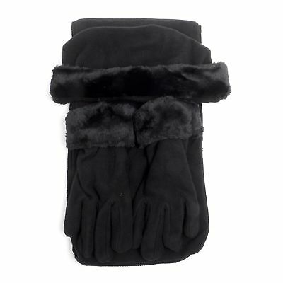 3 Piece Womens Cloche Fur Fleece Hat Scarf And Gloves Set Winter Accessory New