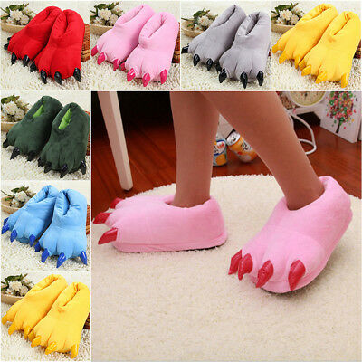 New Arrival Monster Claw Paw Shape Plush Fur Warm Slipper Fall Winter Shoes Home