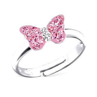Girls Sterling Silver Pink Crystal Butterfly Ring Adjustable Children 925