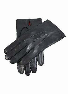 Mens Dents Black Leather Silk Lined Gloves 5-1513