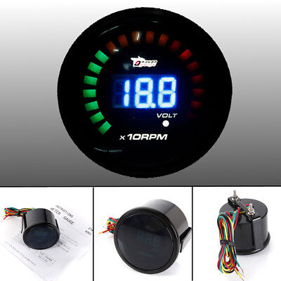"2"" 52mm Auto Digital LED Tachometer Drehzahlmesser RPM & Voltage Gauge Universal"