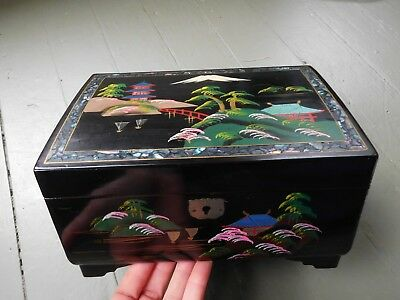 Vintage Black Laquer Mother of Pearl Musical Jewelry Case