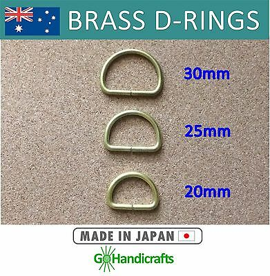 4/pk SOLID BRASS DEE D RING 20mm 25mm 30mm NON WELDED 3mm THICK LEATHERCRAFT