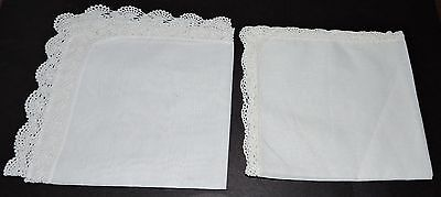 2 Fine White Cotton Handkerchiefs New To Embroider Decorate Hand Crocheted Sheer