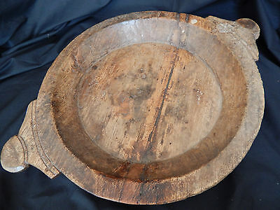 """Vintage Large Bread Bowl/Trencher Beautiful Patina 20"""""""