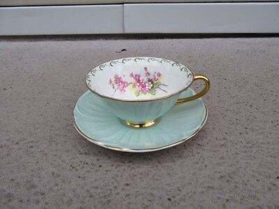 Shelley Oleander Cup & Saucer Footed Mint Green Pink Blossom Gold Trim 13533/S11