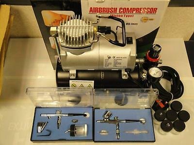 Airbrush Compressor Kit W/ 2 Dual Action Airbrushes.