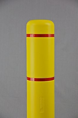 """7"""" x 52"""" BollardGard Bollard Cover - Yellow with Red Reflective Tapes"""