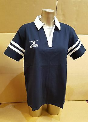 Clearance Line- New Gilbert Rugby Women's V Neck Cotton Tee Shirt- Navy- XL