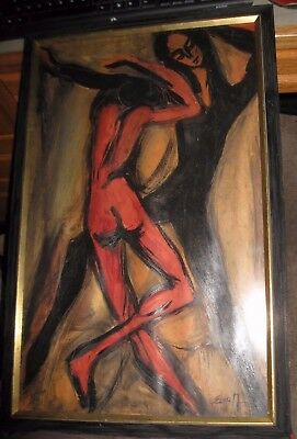 Original Abstract Cubist Dancers Signed Elsa Yonkers NY Provenance Midcentury