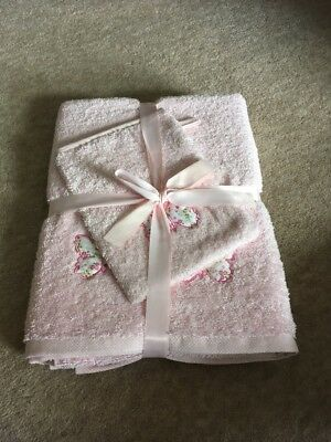 Laura Ashley Butterfly Towel & Wash Mitt NEW