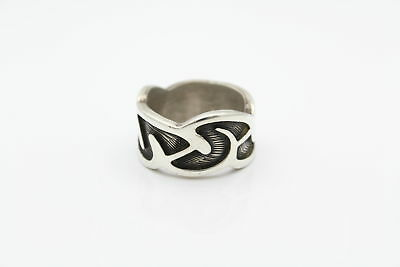 Swirl Design Heavy Thick Ring Solid Sterling Silver Size 9.5