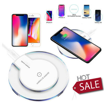 Qi Wireless Fast Charger Charging Pad for Samsung Galaxy Note 8 S8 Plus S7 Clear