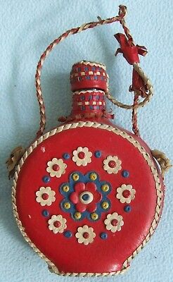 Vintage RED Blue White Leather Covered FLORAL Glass Bottle / Decanter