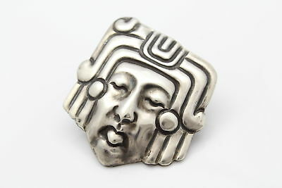 Large Art Deco Pre-Columbian Style Mask Brooch By M. Velasquez Sterling Silver