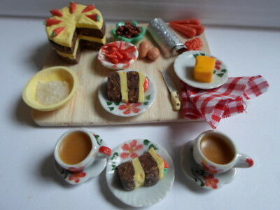 Barbie doll food carrot cake prep and tea for two