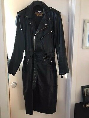 Authentic vintage black leather Harley Davidson full length coat