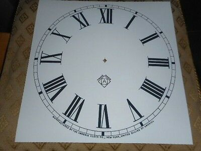 "For American Clocks- Ansonia Paper Dial- 11"" M/T- Roman- White- Face/Clock Parts"