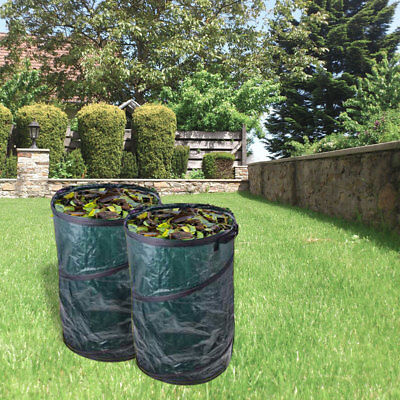 2 x Garden Rubbish Bag 120 litre Pop Up Green Handles Ø 450 X 750 MM For Lawn