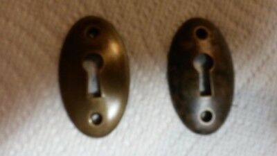"""Vintage """" COPPER PLATED, KEY HOLE ROSETTES """"  1 Pair"""