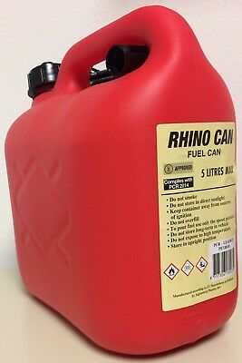 Rhino Can Fuel Can Strong/Durable Plastic 5L Capacity - Red Can