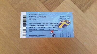 Ticket football WC Qualifier 2017  Sweden Luxembourg  in Stockholm