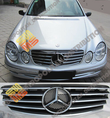 Mercedes E class w211,till2006,AMG sport grille+large central star,black/chrome