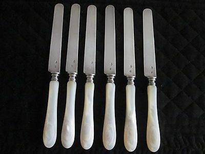 Set Of 6 French Sterling Silver & MOP Cheese, Dessert Knives... Sterling Blades