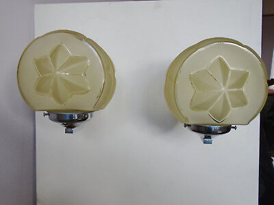 Pair Of Art Deco Chrome Wall Lights/sconces With Fab Yellow Glass Shades
