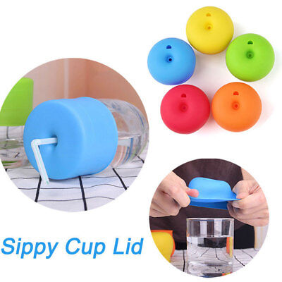 Silicone Sippy Cup Water Bottle Straw Lid Cover Mug Spill-Proof Cap Drinking